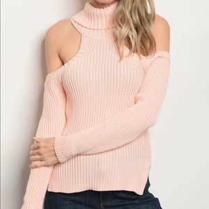 Sweaters - Peach Cold Shoulder Sweater